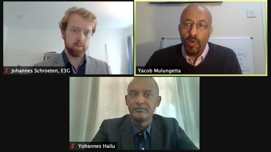 Johannes Schroeten, E3G, Yacob Mulungetta, University College London, and Yohannes Hailu, UN Economic Commission for Africa