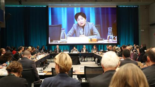 Participants listen to Naoko Ishii, GEF CEO and Chairperson, during the 57th GEF Council Meeting.